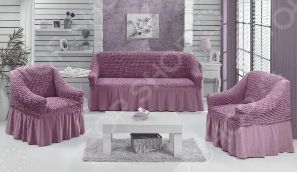 Натяжной чехол на трехместный диван и чехлы на два кресла Karbeltex 1731165