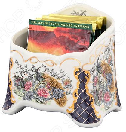 Подставка сервировочная под чайные пакетики Elan Gallery «Павлин на золоте» 503960
