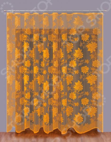 Тюль Wisan «Цветочная симфония». Цвет: золотистый