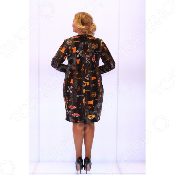 Платье Salvi «Ключи от сердца». Цвет: оранжевый, черный