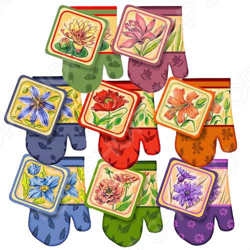 цена на Набор: прихватка с рукавицей Мультидом «Новые цветы» L22-118. В ассортименте