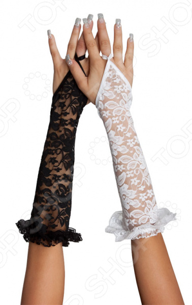 Перчатки декоративные кружевные до локтя