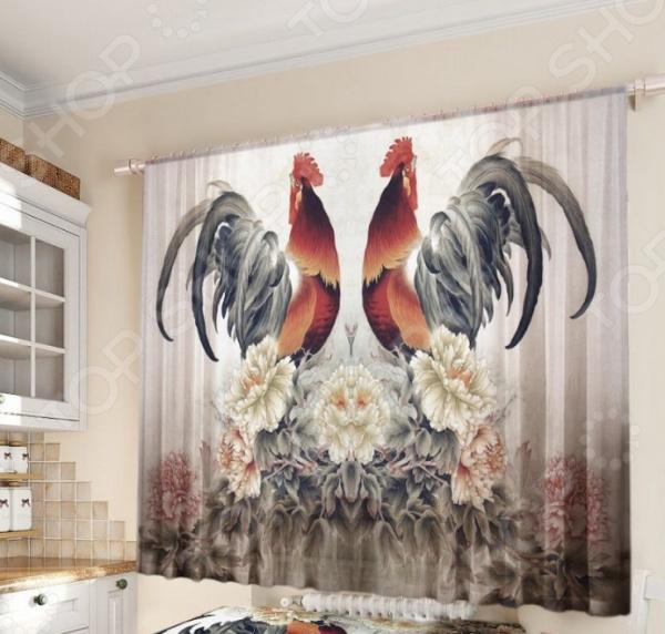 Уютная комната это не только мягкие диваны и кресла, но и красивый домашний текстиль. Именно он позволяет создать в комнате приятную и теплую атмосферу! Легкий летящий тюль это незаменимый элемент в текстильном оформлении окна. Он не уменьшает количество естественного света в помещении, а позволяет сделать его немного мягче. Этот простой элемент домашнего текстиля способен преобразить комнату, сделав её немного уютней, светлее и больше. Новинка в мире фотоштор Фототюль Zlata Korunka Год петуха это идеальный вариант для вашей кухни или дачи! Легкие и качественные изделия не только стильно оформят оконное пространство, но и позволят правильно расставить акценты в интерьере, скрыть небольшие недостатки в отделке. Отлично впишется в любой интерьерный стиль. Легкий и тонкий тюль выполнен из шифоновой ткани высочайшего качества. Этот материал традиционно используется для этого вида домашнего текстиля.  Достоинства тюля из шифона  Переплетение синтетических нитей делает его очень прочным и износостойким.  Гладкая поверхность практически не блестит на солнце, поэтому тюль приобретает благородный внешний вид.  Легко подается драпировке за счет своей легкой и пластичной структуры ткани.  Прекрасно пропускает солнечный свет.  Не выгорает на солнце и не теряет свой цвет после многочисленных стирок.  Легкий уход. Для неповторимого уюта на кухне! Благодаря изысканному дизайну с ярким фоторисунком, данная модель может использоваться в качестве самостоятельного украшения окна. Дизайн придется по нраву тем, кто предпочитает более современный дизайн. Парящий тюль придаст нежность и воздушность интерьеру, избавит вас от ощущения загруженности интерьера, визуально увеличит помещение и сделает более комфортным для отдыха. Тюль рекомендуется стирать при температуре 30 С в режиме бережной стирки и гладить при температуре 150 С в режиме шелк .