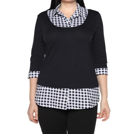 Купить Блуза El Fa Mei «Интересное сочетание». Цвет: темно-синий