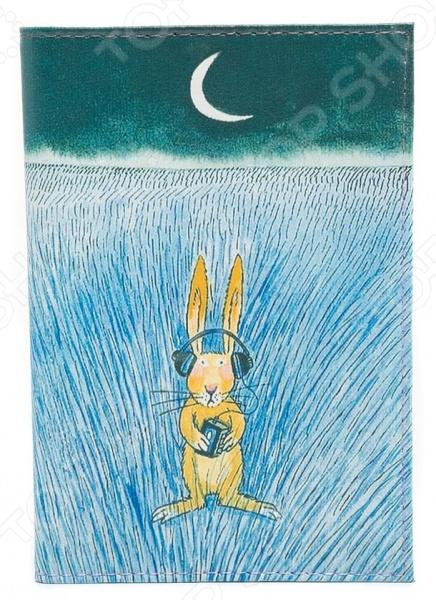 Обложка для автодокументов кожаная Mitya Veselkov «Заяц-меломан» аксессуар