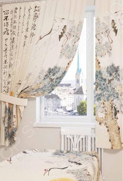 Фотошторы Сирень «Японская фреска»