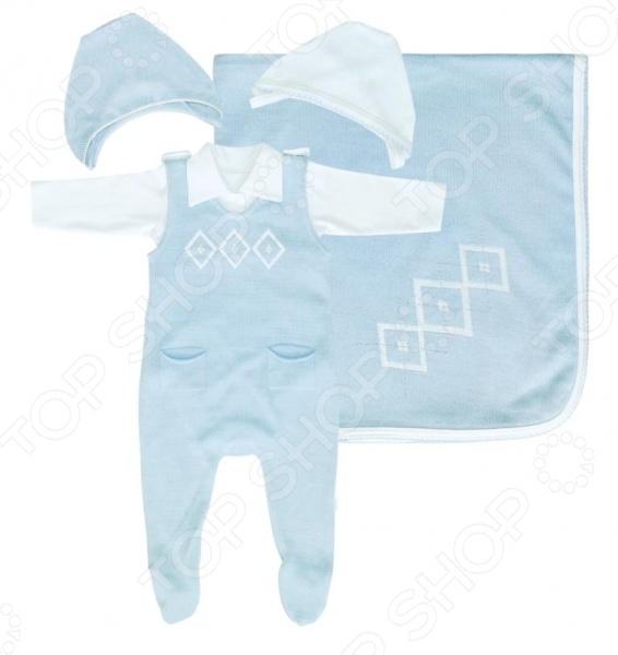 Комплект детский: 2 чепчика, боди и ползунки EKO с пледом