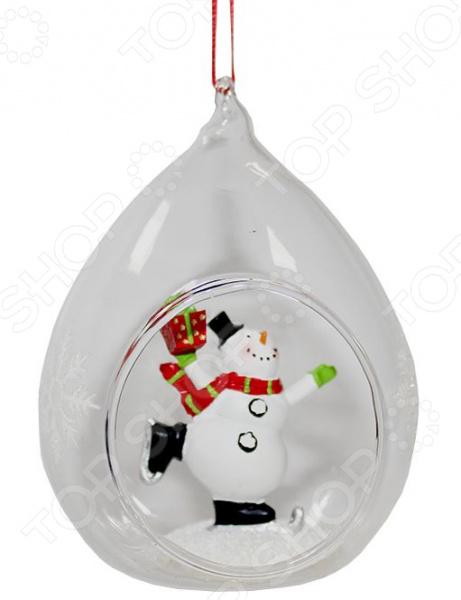 Елочное украшение Crystal Deco «Снеговик на коньках»