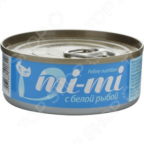 Корм консервированный для кошек Mi-Mi с белой рыбой