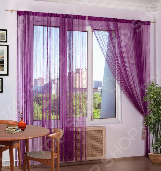Шторы нитяные Алтекс однотонная. Цвет: фиолетовый шторы haft нитяные шторы deniz цвет белый
