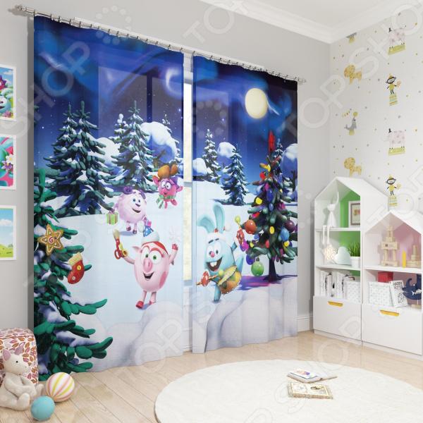Фотошторы блэкаут детские Сирень «Встречаем Новый год» фотошторы блэкаут сирень японский пейзаж