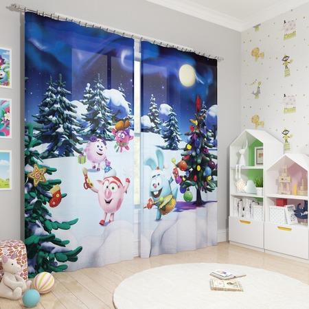 Купить Фотошторы блэкаут детские Сирень «Встречаем Новый год»