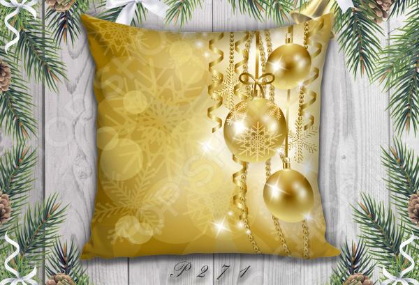 фото Декоративная подушка. Рисунок: золотые шары, Декоративные подушки