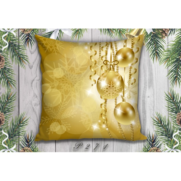 фото Декоративная подушка. Рисунок: золотые шары