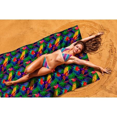 Купить Покрывало пляжное Сирень «Яркие попугаи»