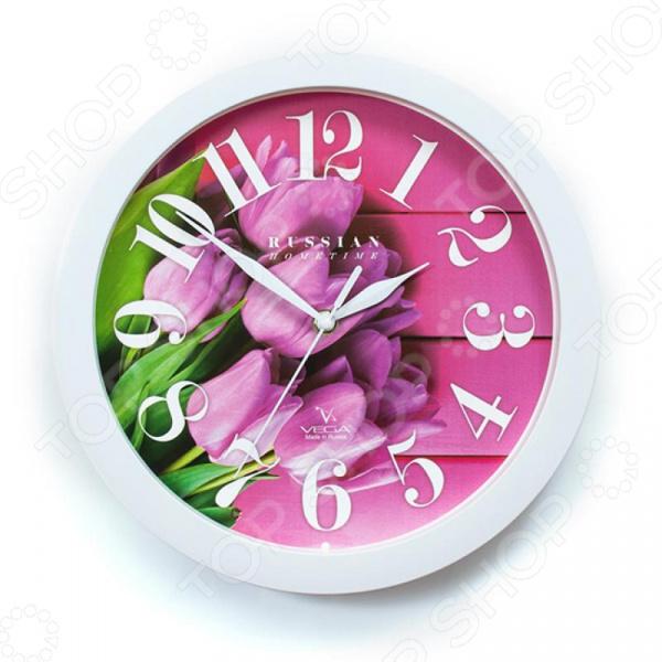 Часы настенные Вега П 1-7/7-270 «Розовые тюльпаны» часы вега п 1 247 7 247 желтые тюльпаны