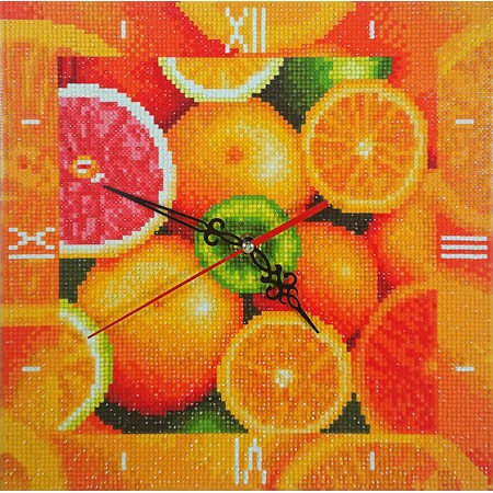 Купить Часы из алмазной мозаики Color Kit «Фруктовый калейдоскоп»