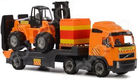 Машина игрушечная с аксессуарами Полесье Volvo «Супер-Микс» автомобиль кран полесье майк с манипулятором конструктор супер микс 30 элем на поддоне в коробке 55590