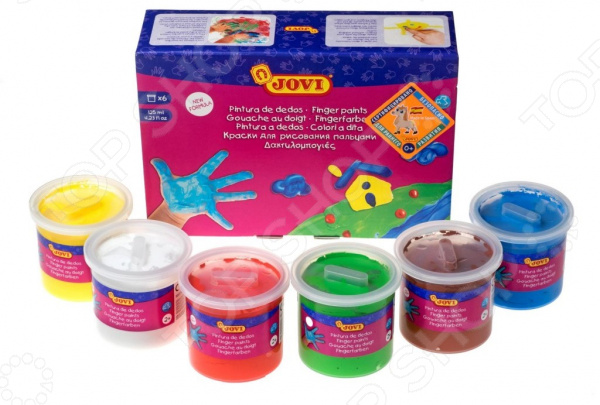 Набор пальчиковых красок JOVI 560 S замечательный набор для юных художников. Раскрыть творческий потенциал, дать волю фантазии и воображению, развить цветовосприятие все это легко осуществимо даже без кисточек! Вместо них ребенок будет использовать собственные пальчики. В процессе создания рисунка он ощутит текстуру красок и бумаги, сможет лучше контролировать свои движения.   Краски желеобразные, поэтому не вытекают из баночек. Легко очищаются с кожи и удаляются с большинства видов тканей.  Состав на основе воды и безопасных красителей безвреден для ребенка.  В комплекте 6 цветов: белый, желтый, красный, зеленый, синий, коричневый. Емкость 1 баночки 125 мл.