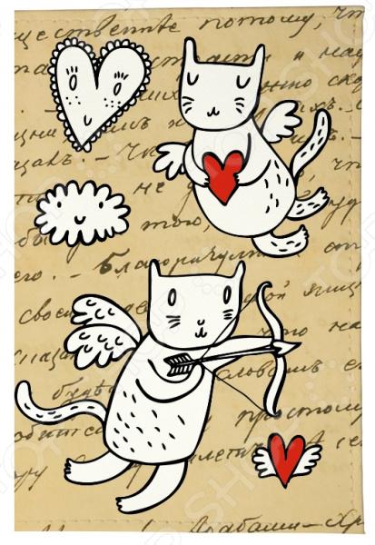 Обложка для автодокументов Mitya Veselkov «Коты-амуры» AUTOZAM358 чехол для iphone 6 mitya veselkov коты амуры ip6 201