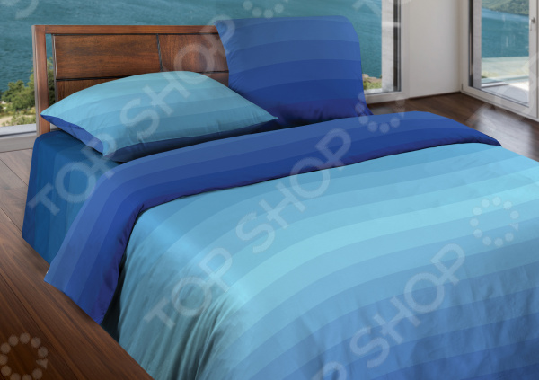 Комплект постельного белья Wenge Flow. 1,5-спальный. Цвет: синий
