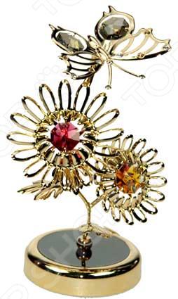 Фигурка декоративная Crystocraft «Бабочка на цветах» с кристаллами Swarovski