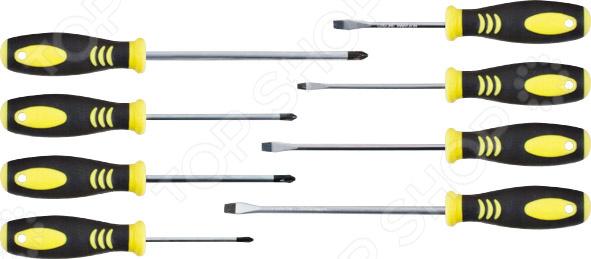 Набор отверток FIT 56029 состоит из инструментов, стержни которых сделаны из хром-ванадиевой стали. Этот материал гарантирует высокую прочность и долговечность. Отвертки имеют магнитные наконечники и удобные прорезиненные ручки, которые не соскальзывают из рук. Универсальный набор для работы с различными видами креплений. Отвёртки: SL3х75, SL4х100, SL5х125, SL6х150, PH0х75, PH1х100, PH2х125, PH3х150.