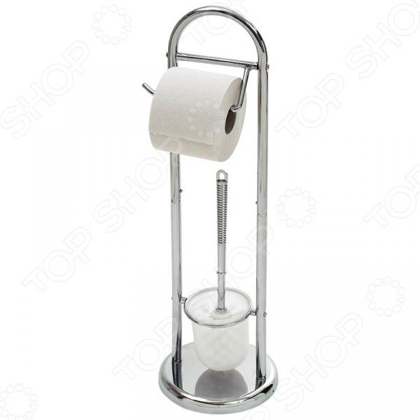 Стойка напольная с держателем для туалетной бумаги и ершиком Рыжий кот B0813 1