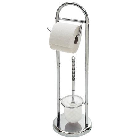 Купить Стойка напольная с держателем для туалетной бумаги и ершиком Рыжий кот B0813