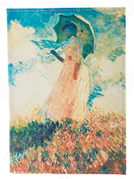 Обложка для паспорта кожаная Mitya Veselkov «Клод Моне. Дама с зонтиком» картина из кожи дама с зонтиком моне коллекция elole interior синий сплошн холст прямоуг рама