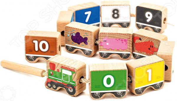 Игрушка развивающая для малыша Мир Деревянных Игрушек «Паровозик шнуровка-цифры» паровозик д163 мир деревянных игрушек