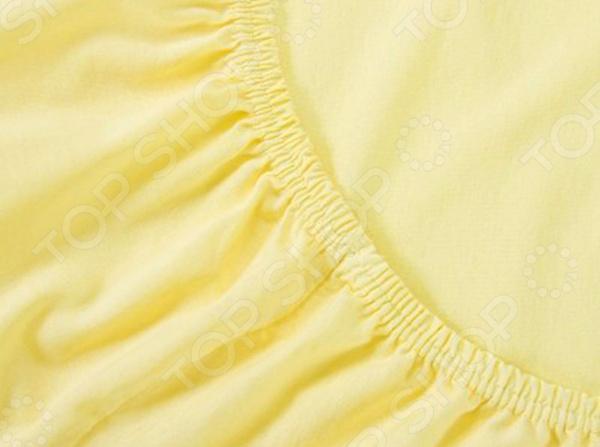 Простыня на резинке Хлопковый Край. Цвет: желтый