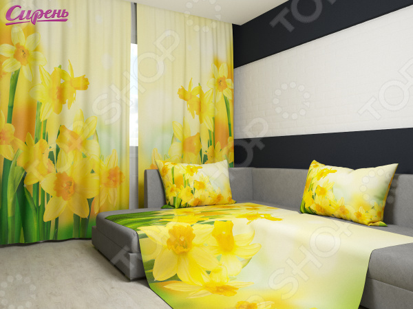 Комплект: фотошторы и покрывало Сирень «Желтые нарциссы» фотошторы сирень фотошторы оттенки цветов