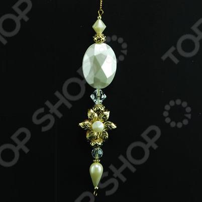 Новогоднее украшение Crystal Deco «Подвеска с цветком и камнями»