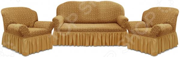 Натяжной чехол на трехместный диван и чехлы на 2 кресла Karbeltex «Престиж» 10044 с оборкой