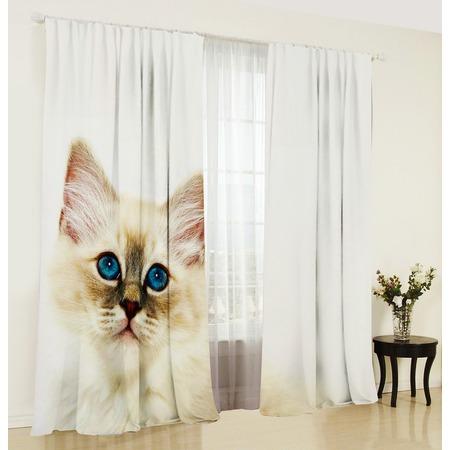 Купить Фотошторы ТамиТекс «Белый кот». Количество полотен: 2 шт