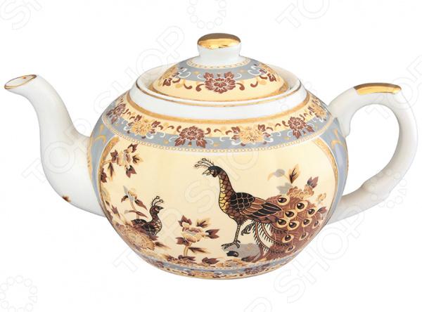 Чайник заварочный с ситом Elan Gallery «Павлин на бежевом» 471325