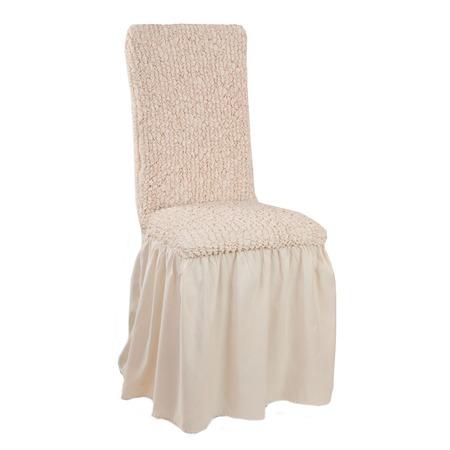 Купить Натяжной чехол на стул с юбкой Еврочехол «Микрофибра. Ваниль»