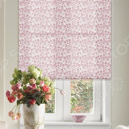 Рулонная штора Эскар «Бабочки». Цвет: розовый