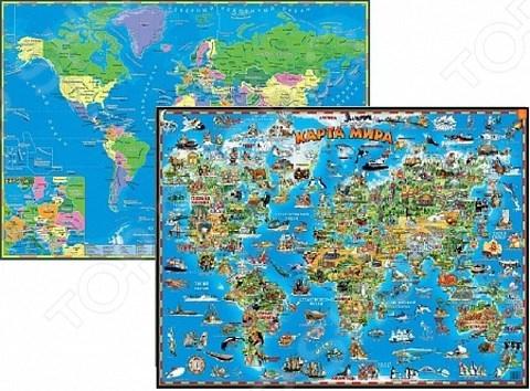 Настольная двухсторонняя карта мира АГТ Геоцентр для детей
