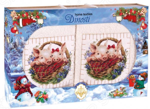 Комплект из 2-х махровых полотенец Dinosti «Хрюши в лукошке». В ассортименте цена