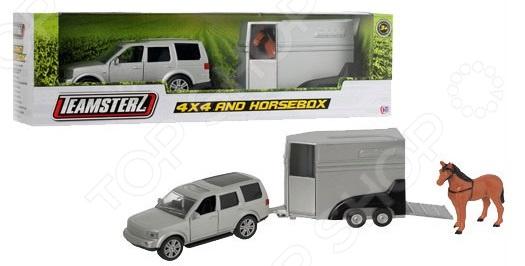 Набор машинок игрушечных HTI «Джип с прицепом для лошади»
