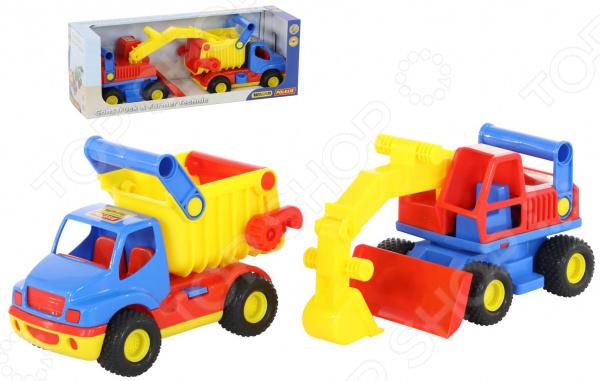 Набор машинок игрушечных Wader «КонсТрак самосвал + экскаватор колёсный» автомобиль самосвал констрак полесье экскаватор колёсный в коробке 40855