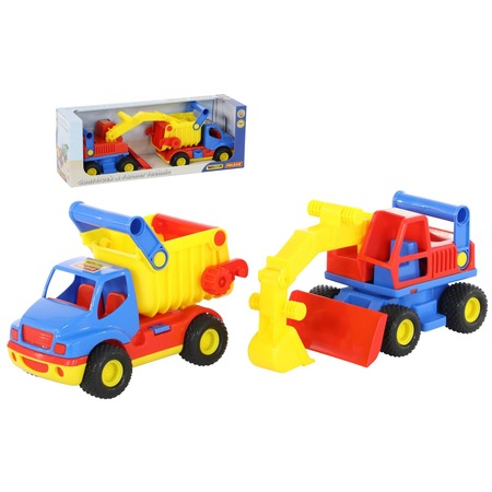 Купить Набор машинок игрушечных Wader «КонсТрак. Самосвал и экскаватор колёсный»