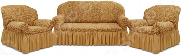 Натяжной чехол на трехместный диван и чехлы на два кресла Karbeltex «Престиж» 10034 с оборкой