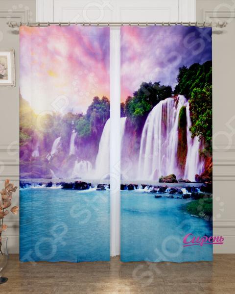 Фотошторы блэкаут Сирень «Радужный водопад»