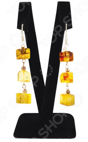 Серьги Black Jack «Янтаринка» прекрасный сплав opal бабочки стержня уха серьги pin уха для женщин подарка xmas