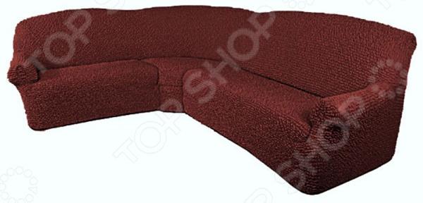 Натяжной чехол на классический угловой диван Еврочехол «Микрофибра. Бордо»