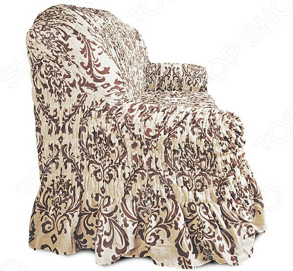 Натяжной чехол на двухместный диван Еврочехол «Фантазия. Венеция» 3