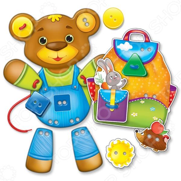 Игра настольная развивающая для детей Vladi Toys «Пуговки-шнурочки: Медвежонок» coool toys медвежонок